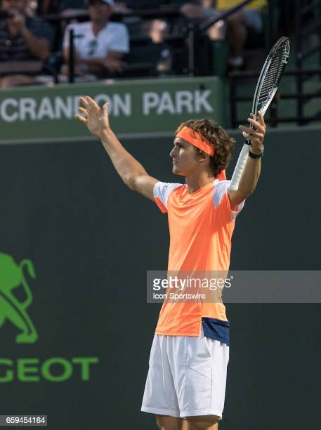 Alexander Zverev celebrating during his Round of 32 match in the 2017 Miami Open on March 27 at the Tennis Center at Crandon Park in Key Biscayne FL