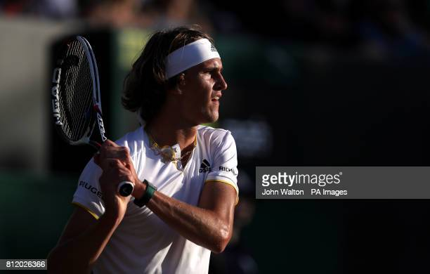 Alexander Zverev during his match against Milos Raonic on day seven of the Wimbledon Championships at The All England Lawn Tennis and Croquet Club...