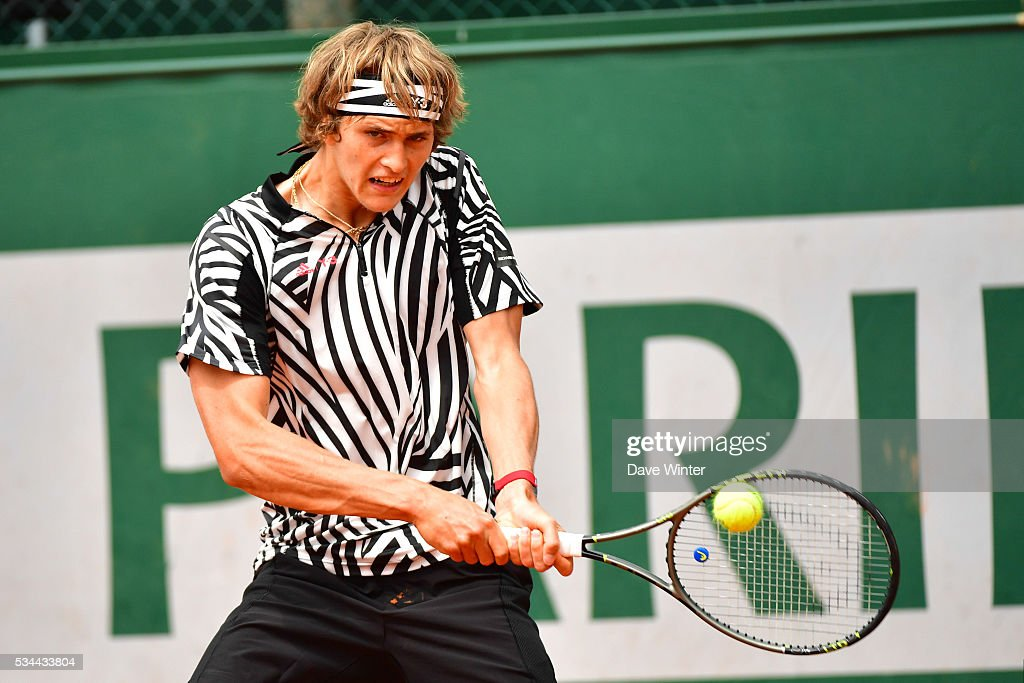 Alexander Zverev during the Men's Singles second round on day five of the French Open 2016 at Roland Garros on May 26, 2016 in Paris, France.
