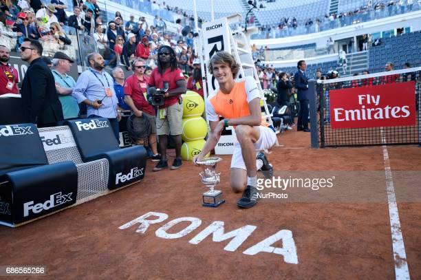 Alexander Zverev holds his winning trophy after ATP Final match between Alexander Zverev vs Novak Djokovic Internazionali BNL d'Italia 2017 on May 20...