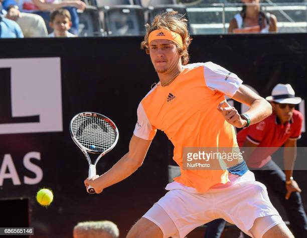 Alexander Zverev in action during his match against Novak Djokovic Internazionali BNL d'Italia 2017 on May 21 2017 in Rome Italy