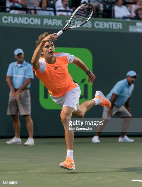 Alexander Zverev in action during his Round of 32 match in the 2017 Miami Open on March 27 at the Tennis Center at Crandon Park in Key Biscayne FL