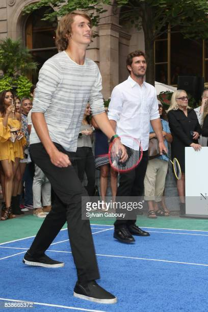 Alexander Zverev Jr and Mischa Zverev attend 2017 Lotte New York Palace Invitational at Lotte New York Palace on August 24 2017 in New York City