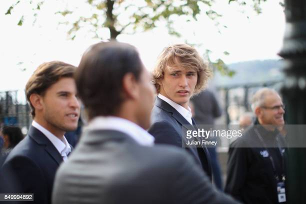 Alexander Zverev looks on during a photoshoot ahead of the Laver Cup on September 20 2017 in Prague Czech Republic The Laver Cup consists of six...
