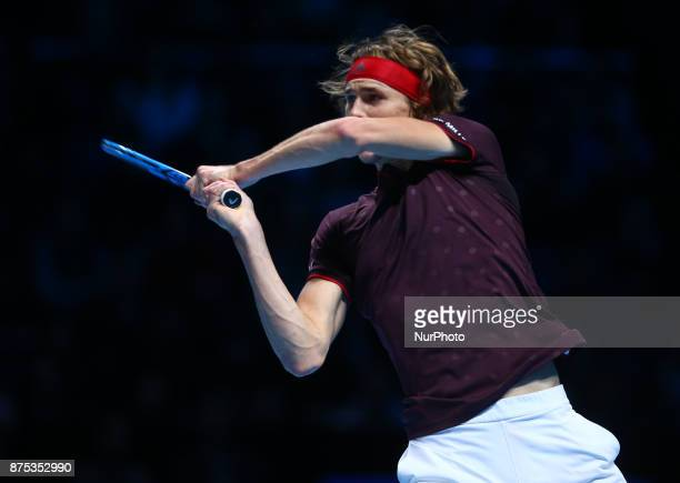 Alexander Zverev of Germany against Jack Sock of USA during Day five of the Nitto ATP World Tour Finals played at The O2 Arena London on November 16...