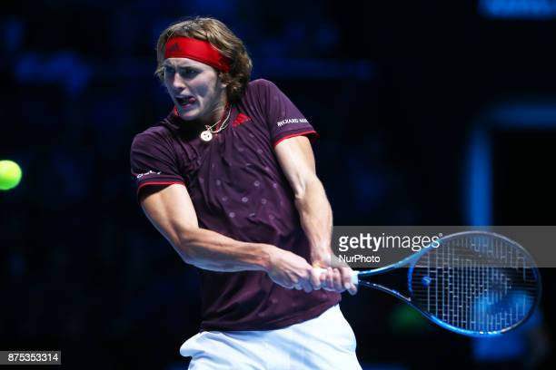 Alexander Zverev of Germany against Marin Cilic of Croatia during Day One of the Nitto ATP World Tour Finals World Tour Finals 2017 played at The O2...