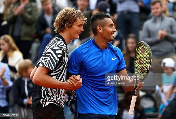 Alexander Zverev of Germany and Nick Kyrgios of Australia following their victory during the Men's Singles second round match against Pablo Carreno...