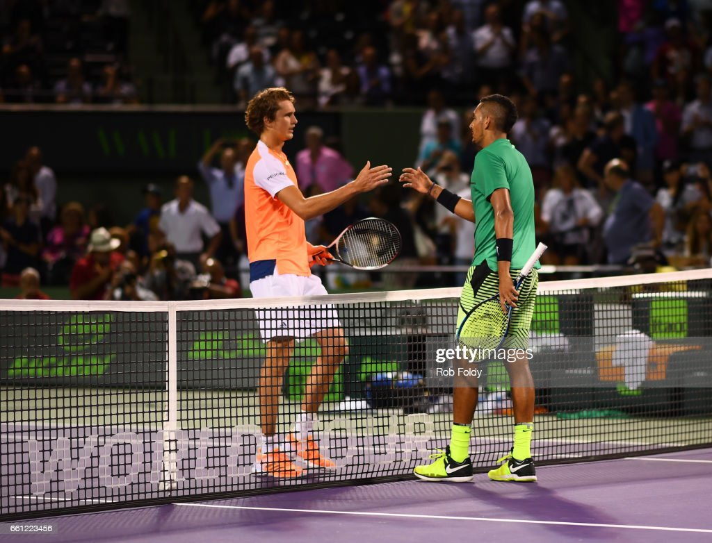 Alexander Zverev of Germany and Nick Kyrgios of Australia shake hands after a match on day 11 of the Miami Open at the Crandon Park Tennis Center on March 30, 2017 in Key Biscayne, Florida.