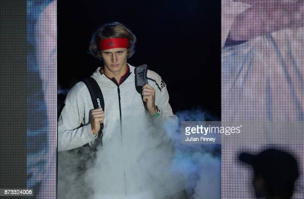 Alexander Zverev of Germany arrives on court to play Marin Cilic of Croatia during day one of the Nitto ATP World Tour Finals tennis at the O2 Arena...