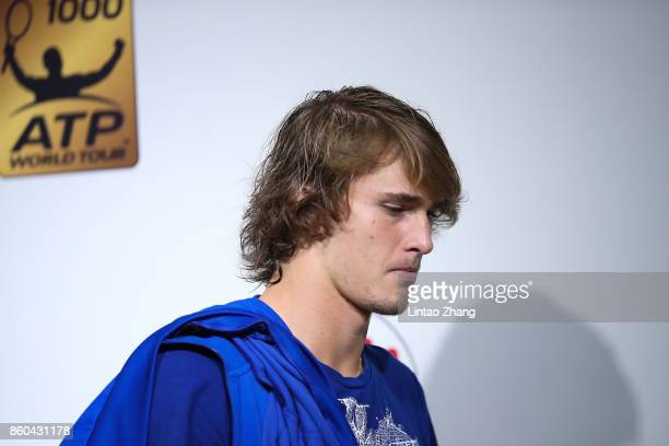 Alexander Zverev of Germany attends a press conference after losing the Men's singles mach third round against Juan Martin Del Potro of Argentina on...