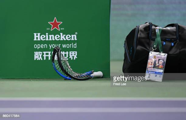 Alexander Zverev of Germany breaks his racket in frustration during the the Men's singles mach third round against Juan Martin Del Potro of Argentina...