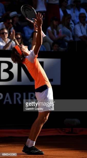 Alexander Zverev of Germany celebrates after beating Novak Djokovic of Serbia during the final of The Internazionali BNL d'Italia 2017 at Foro...