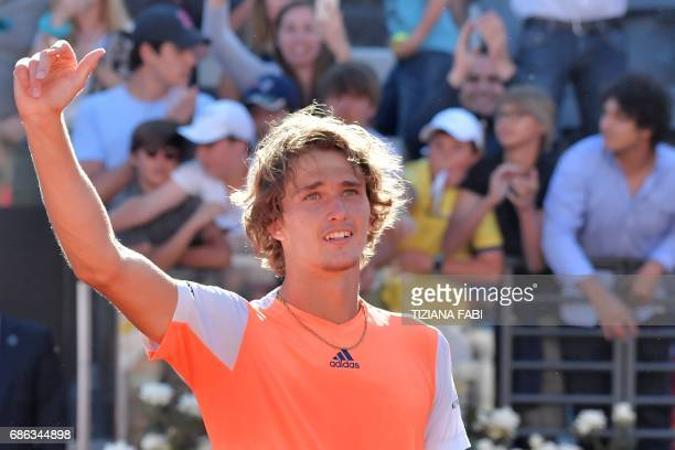 Alexander Zverev of Germany celebrates after winning the ATP Tennis Open final against Novak Djokovic of Serbia on May 21 at the Foro Italico in Rome...