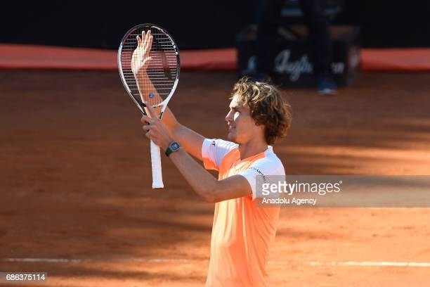 Alexander Zverev of Germany celebrates after winning the Men's Single Final match against Novak Djokovic of Serbia during day eight of The...