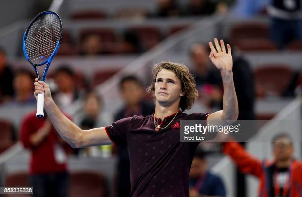 Alexander Zverev of Germany celebrates after winning the Men's singles Quarterfinals match against Andrey Rublev of Russia on day seven of 2017 China...