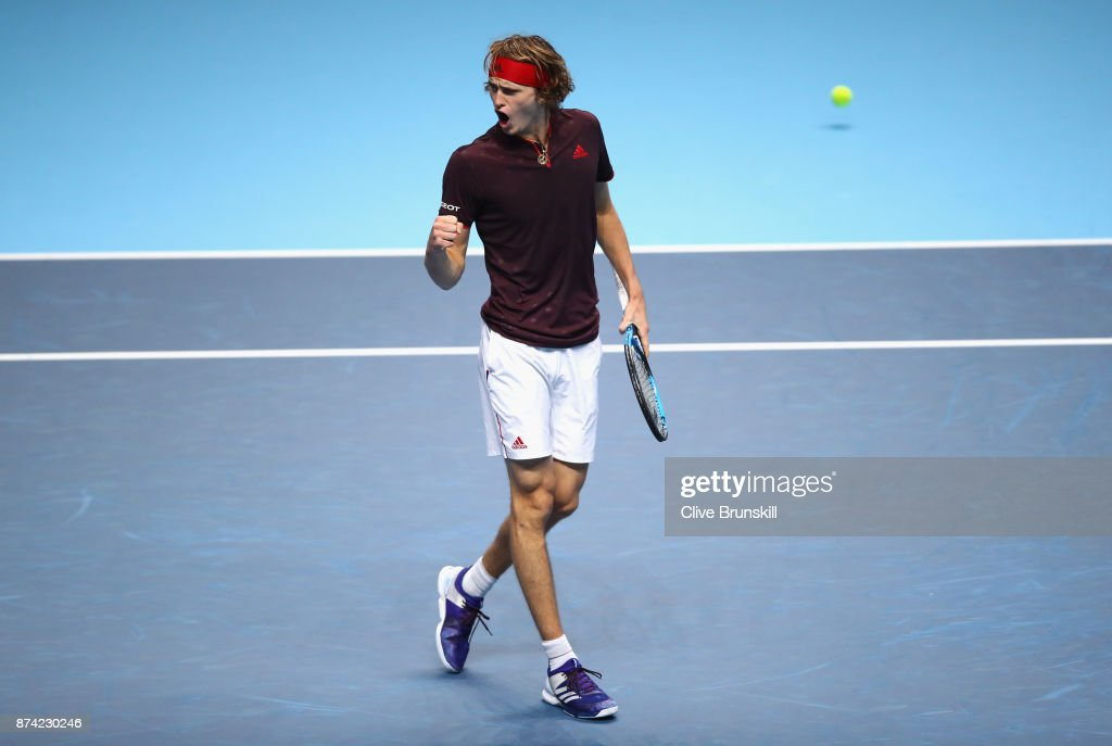 Alexander Zverev of Germany celebrates during the singles match against Roger Federer of Switzerland on day three of the Nitto ATP World Tour Finals at O2 Arena on November 14, 2017 in London, England.