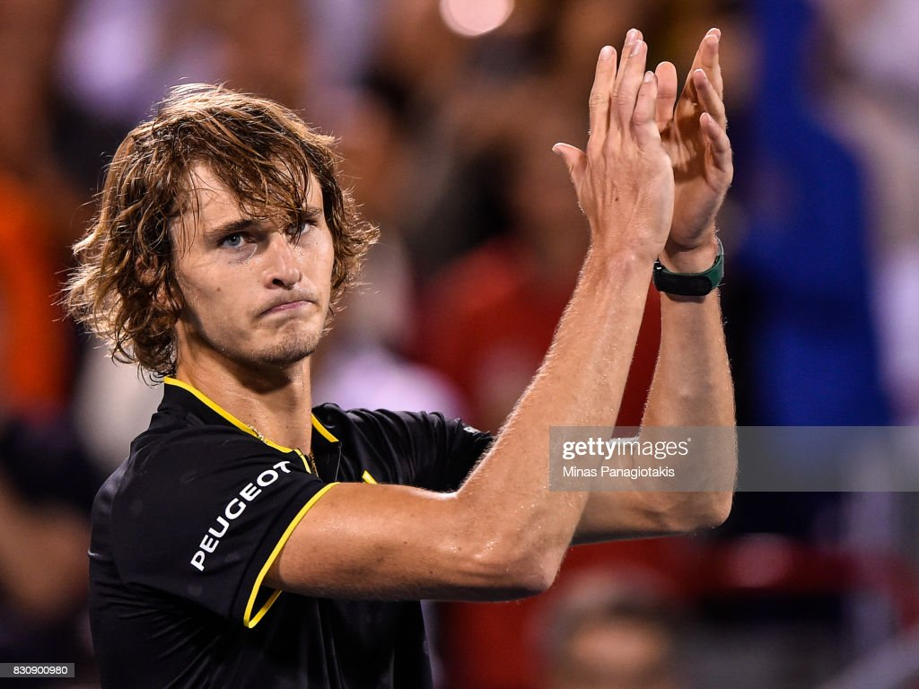Alexander Zverev of Germany celebrates his 6-4, 7-5 victory over Denis Shapovalov of Canada during day nine of the Rogers Cup presented by National Bank at Uniprix Stadium on August 12, 2017 in Montreal, Quebec, Canada.