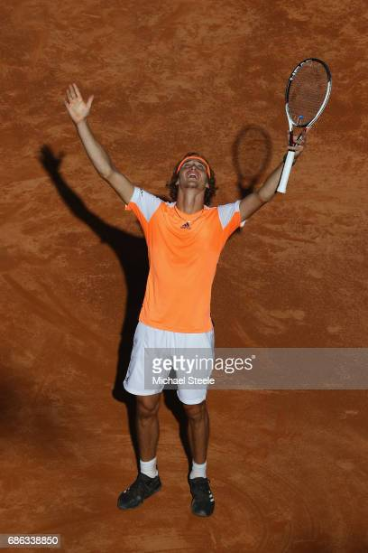 Alexander Zverev of Germany celebrates match point in the men's Final against Novak Djokovic of Serbia on Day Eight of the Internazionali BNL...