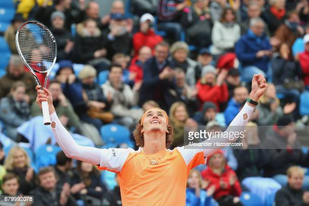 Alexander Zverev of Germany celebrates victory after winning his finale match against Guido Pella of Argentina of the 102 BMW Open by FWU at Iphitos...