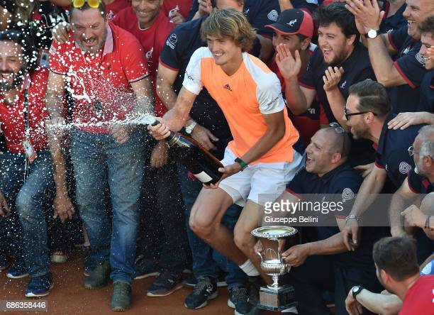 Alexander Zverev of Germany celebrates with the tourament staff after winning the ATP Singles Final match between Alexander Zverev of Germany and...