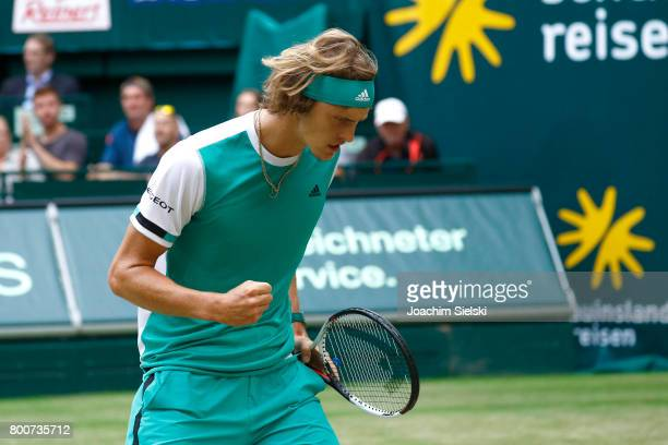 Alexander Zverev of Germany cheers during the men's singles match against Roger Federer of Suiss on Day 9 of the Gerry Weber Open 2017 at Gerry Weber...