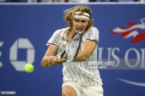 Alexander Zverev of Germany competes against Borna Coric of Croatia in Men's Singles round two tennis match within 2017 US Open Tennis Championships...