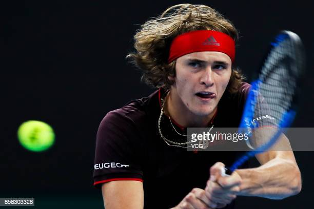 Alexander Zverev of Germany competes during the Men's singles quarterfinal match against Andrey Rublev of Russia on day seven of the 2017 China Open...