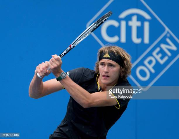 Mischa Zverev of Germany competes with Jordan Thompson of Australia at William HG FitzGerald Tennis Center on August 2 2017 in Washington DC