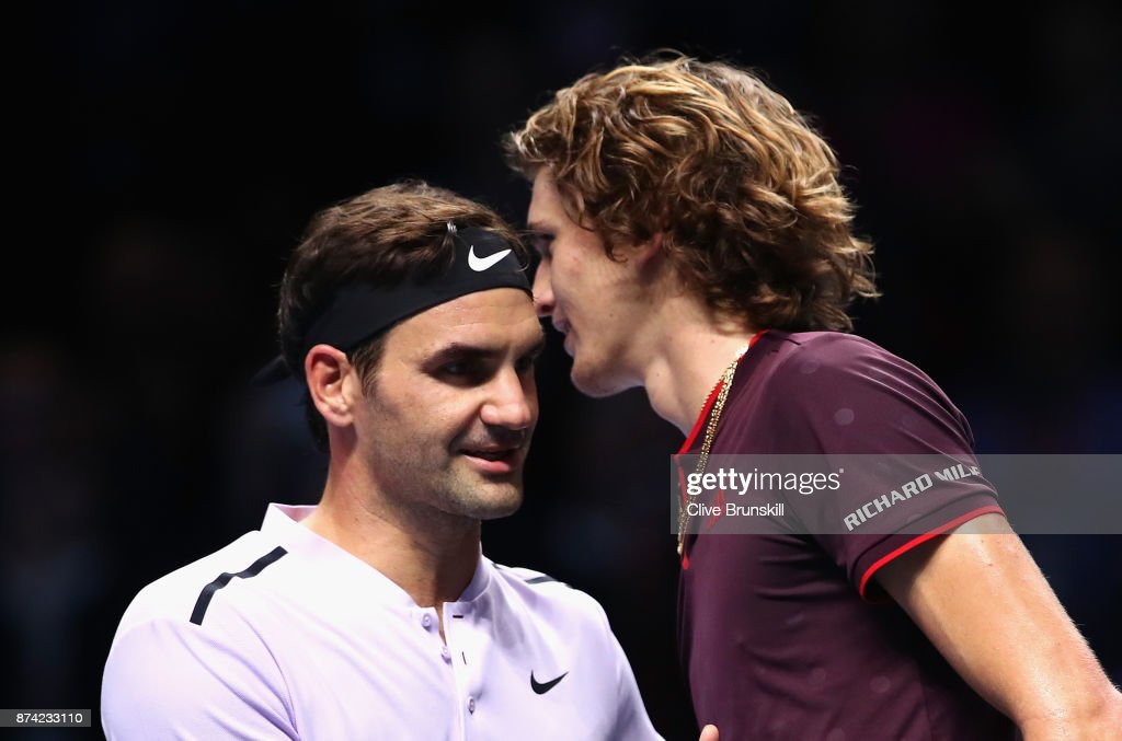 Alexander Zverev of Germany congratulates Roger Federer of Switzerland on victory following their singles match on day three of the Nitto ATP World Tour Finals at O2 Arena on November 14, 2017 in London, England.
