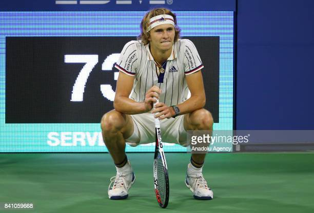 Alexander Zverev of Germany gestures after losing against Borna Coric of Croatia in Men's Singles round two tennis match within 2017 US Open Tennis...