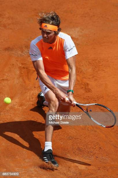 Alexander Zverev of Germany hits a return during his first round match against Kevin Andersen of South Africa on Day Three of The Internazionali BNL...