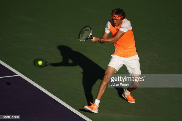 Alexander Zverev of Germany in action against John Isner of USA at Crandon Park Tennis Center on March 27 2017 in Key Biscayne Florida