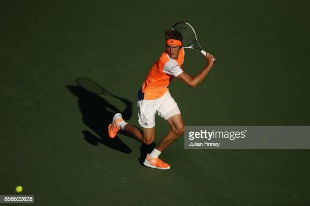 Alexander Zverev of Germany in action against John Isner of USA at Crandon Park Tennis Center on March 27 2017 in Key Biscayne Florida