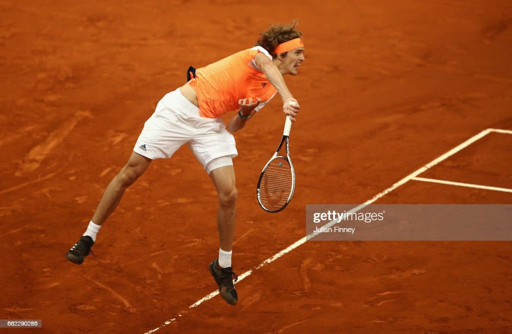 Alexander Zverev of Germany in action against Pablo Cuevas of Uruguay during day seven of the Mutua Madrid Open tennis at La Caja Magica on May 12, 2017 in Madrid, Spain.