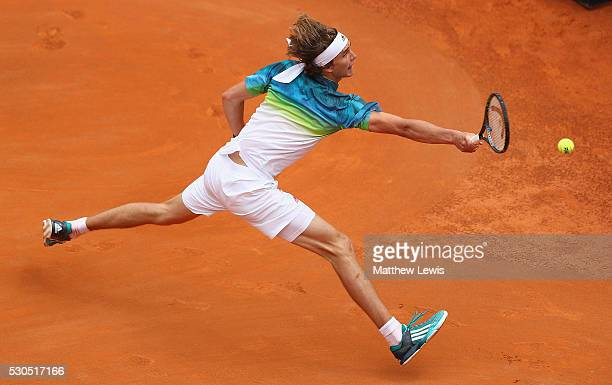 Alexander Zverev of Germany in action against Roger Federer of Switzerland during day four of the The Internazionali BNL d'Italia 2016 on May 11 2016...