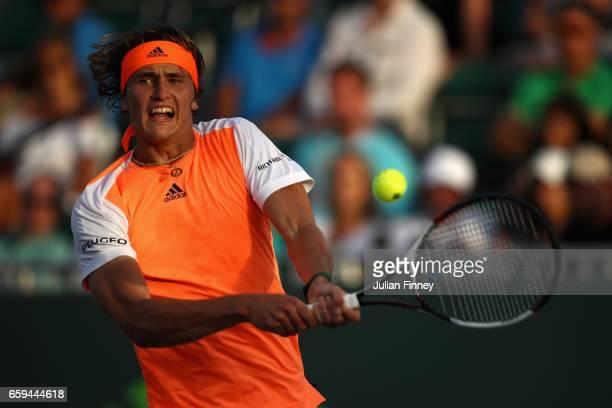 Alexander Zverev of Germany in action against Stan Wawrinka of Switzerland at Crandon Park Tennis Center on March 28 2017 in Key Biscayne Florida