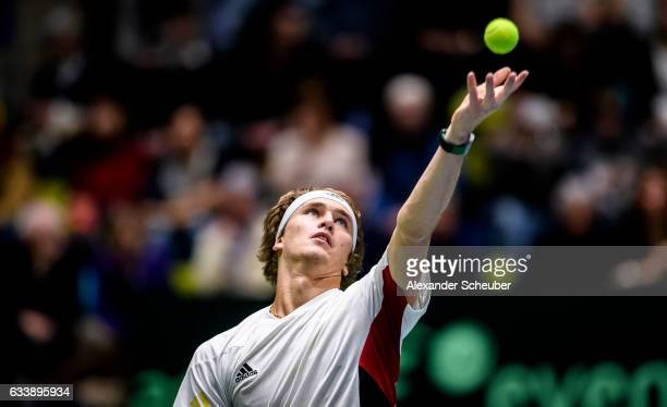 Alexander Zverev of Germany in action against Steve Darcis of Belgium during day three of the Davis Cup World Group first round between Germany and...
