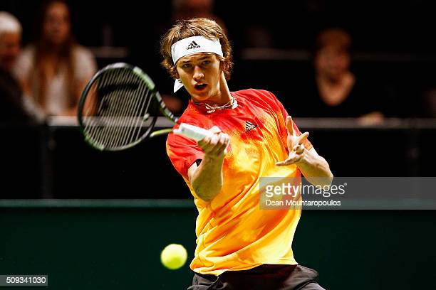 Alexander Zverev of Germany in action against Vasek Pospisil of Canada during day 3 of the ABN AMRO World Tennis Tournament held at Ahoy Rotterdam on...