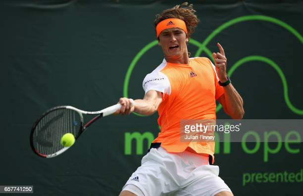 Alexander Zverev of Germany in action against YenHsun Lu of Taipei at Crandon Park Tennis Center on March 25 2017 in Key Biscayne Florida