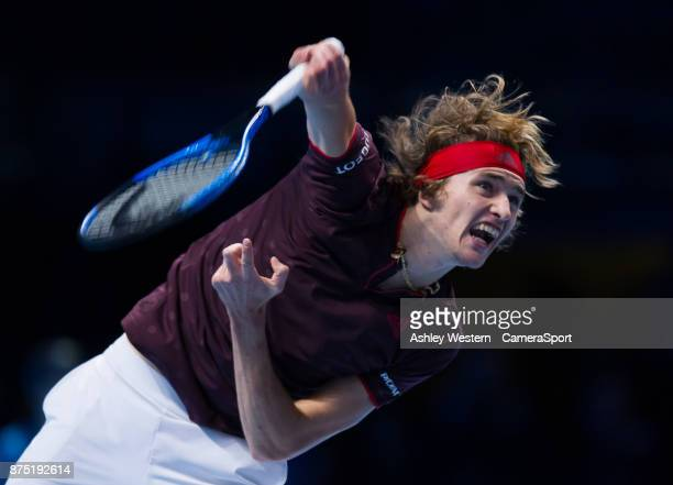 Alexander Zverev of Germany in action during his defeat to Jack Sock of USA in their Group Boris Becker match today Sock def Zherev 64 16 64 at O2...