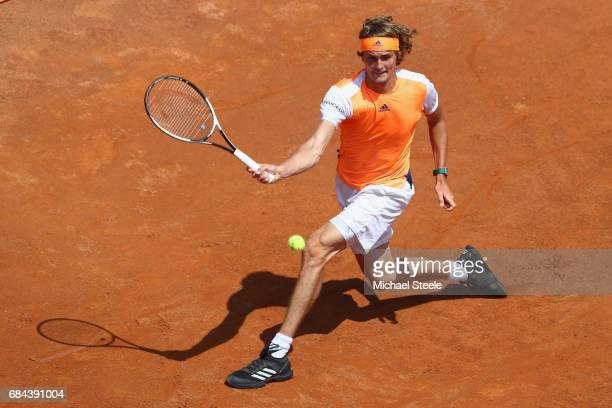 Alexander Zverev of Germany in action during the men's third round match against Fabio Fognini of Italy on Day Five of the Internazionali BNL...