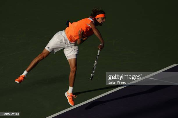 Alexander Zverev of Germany in action in his match against John Isner of USA at Crandon Park Tennis Center on March 27 2017 in Key Biscayne Florida