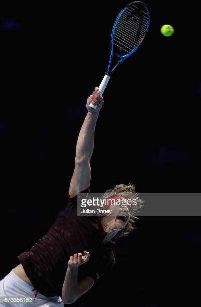 Alexander Zverev of Germany in action in his match against Marin Cilic of Croatia during day one of the Nitto ATP World Tour Finals tennis at the O2...