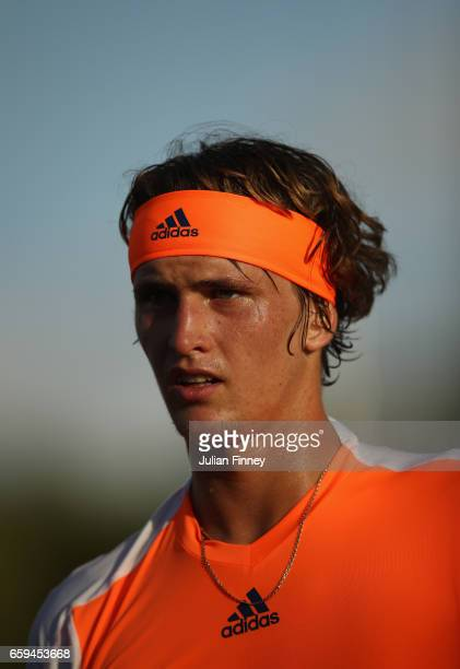 Alexander Zverev of Germany looks on in his match against Stan Wawrinka of Switzerland at Crandon Park Tennis Center on March 28 2017 in Key Biscayne...