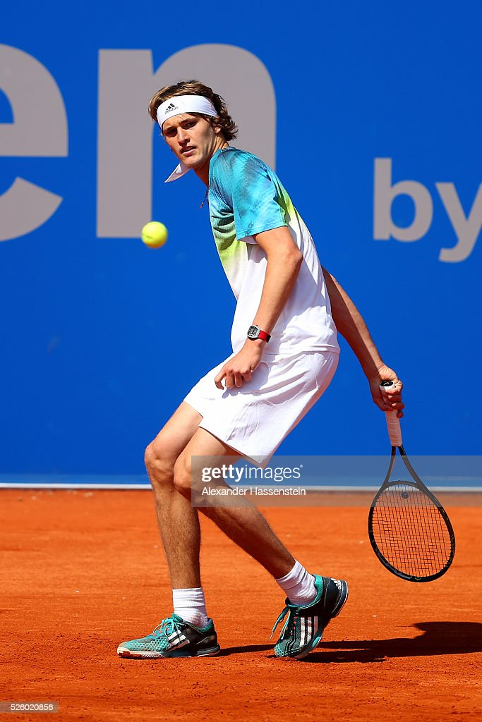 <a gi-track='captionPersonalityLinkClicked' href=/galleries/search?phrase=Alexander+Zverev+-+Tennisspieler&family=editorial&specificpeople=11367343 ng-click='$event.stopPropagation()'>Alexander Zverev</a> of Germany plays a back hand during his quater final match against David Goffin of Belgium of the BMW Open at Iphitos tennis club on April 29, 2016 in Munich, Germany.