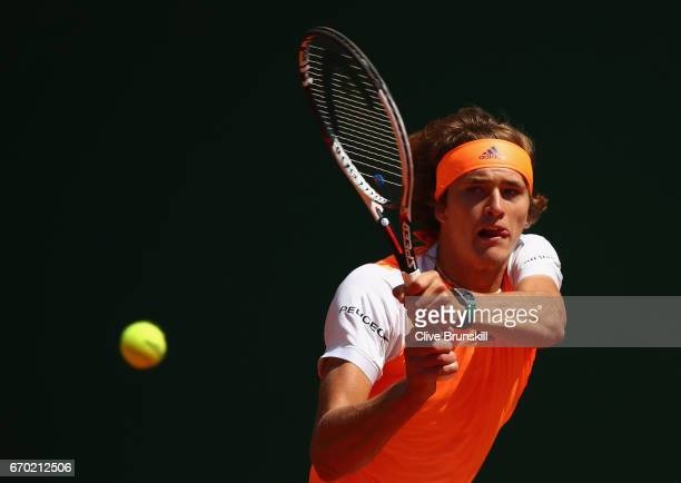 Alexander Zverev of Germany plays a backhand against Feliciano Lopez of Spain in his second round match on day four of the Monte Carlo Rolex Masters...