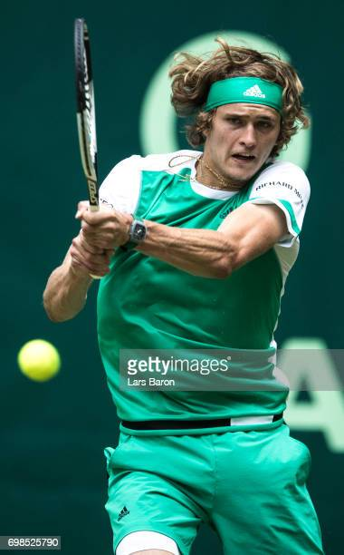 Alexander Zverev of Germany plays a backhand during his match against Paolo Lorenzi of Italy during Day 4 of the Gerry Weber Open 2017 at on June 20...