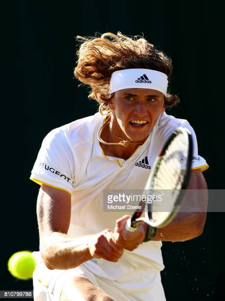 Alexander Zverev of Germany plays a backhand during the Gentlemen's Singles third round match against Sebastian Ofner of Austria on day six of the...