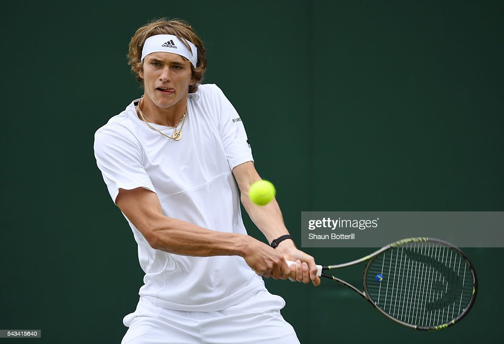 <a gi-track='captionPersonalityLinkClicked' href=/galleries/search?phrase=Alexander+Zverev+-+Tennis+Player&family=editorial&specificpeople=11367343 ng-click='$event.stopPropagation()'>Alexander Zverev</a> of Germany plays a backhand during the Men's Singles first round match against Paul Henri-Mathieu of France on day two of the Wimbledon Lawn Tennis Championships at the All England Lawn Tennis and Croquet Club on June 28, 2016 in London, England.