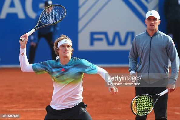 Alexander Zverev of Germany plays a fore hand during his double match Alexander Zverev and Mischa Zverev of Germany and Marco Cecchinato and Fabio...